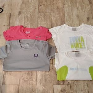 4 athletic shirts under armour and Nike